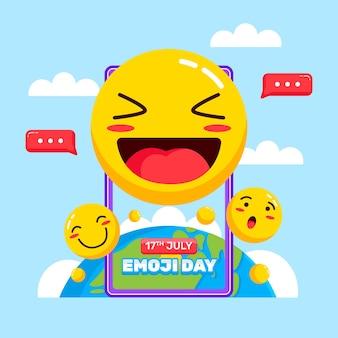 flat world emoji day illustration
