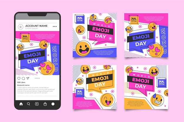 Плоский мир emoji day instagram post collection
