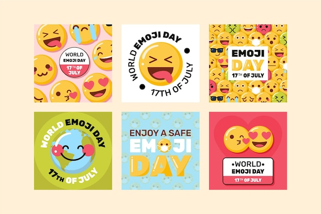 Flat world emoji day instagram post collection