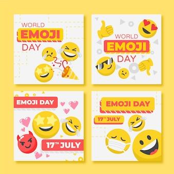 Flat world emoji day instagram 게시물 모음 무료 벡터