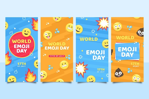 Flat world emoji day instagram story collection