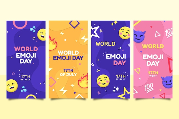 Flat world emoji day instagram 스토리 컬렉션