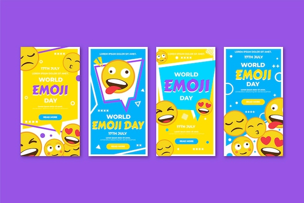 Raccolta di storie di instagram di piatto mondo emoji giorno