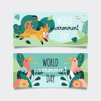 Плоский набор баннеров всемирного дня окружающей среды