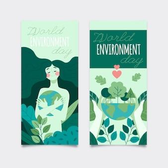 Flat world environment day banner set