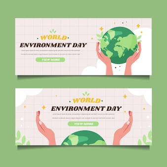 평평한 세계 환경의 날 배너 서식 파일