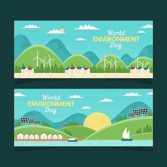 Flat world environment day banner template