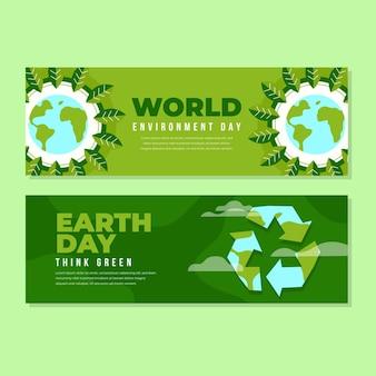 Modello di banner piatto giornata mondiale dell'ambiente