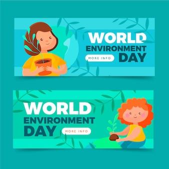 Flat world environment day banners set