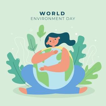 Flat world environment day illustration