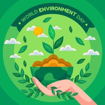 フラットな世界環境の日のイラスト