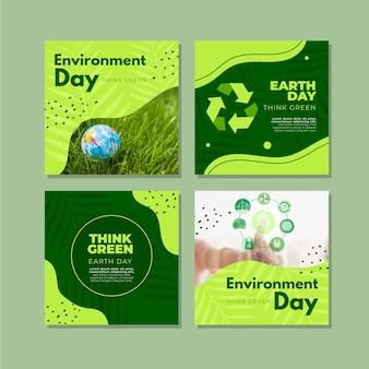 Raccolta di post di instagram per la giornata mondiale dell'ambiente piatto