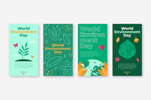 Raccolta di storie di instagram per la giornata mondiale dell'ambiente piatto