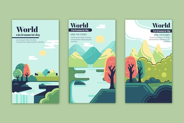 Плоский всемирный день окружающей среды коллекция рассказов instagram