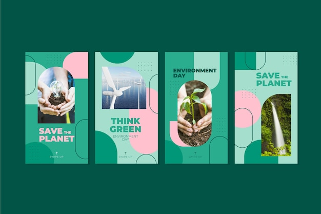 Flat world environment day instagram stories collection