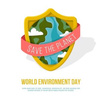 La giornata mondiale dell'ambiente piatto salva l'illustrazione del pianeta