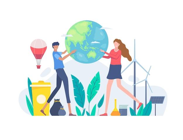 평평한 세계 환경의 날 행성 그림 저장