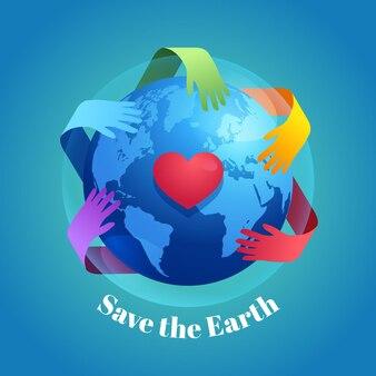 平らな世界環境の日は惑星のイラストを保存します