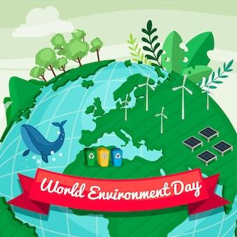 Плоский всемирный день окружающей среды спасает планету иллюстрация