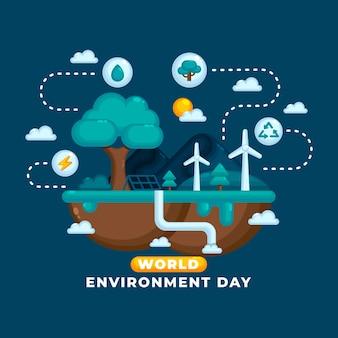 Giornata mondiale dell'ambiente piatto