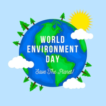 Flat world environment day Free Vector
