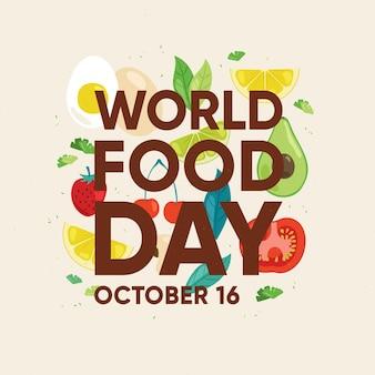 平らな世界の食品日コンセプト