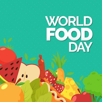 Flat world food day concept