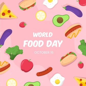平らな世界の食べ物の日イラスト