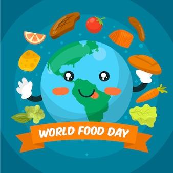 Flat world food day illustration