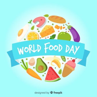 Flat world food day with fruit and vegetable