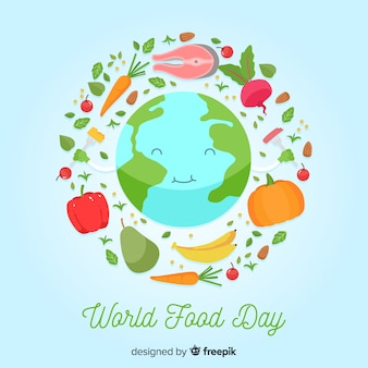 Flat world food day with happy planet earth