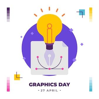 Flat world graphics day illustration