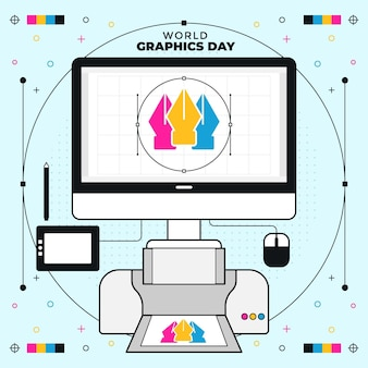 フラットな世界のグラフィックの日のイラスト