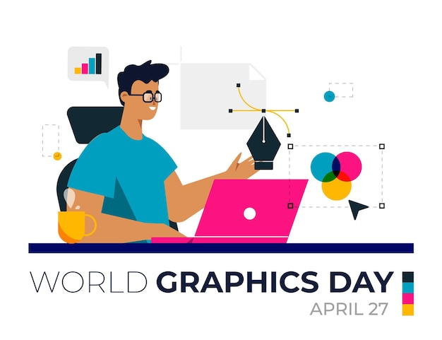 Flat world graphics day illustration