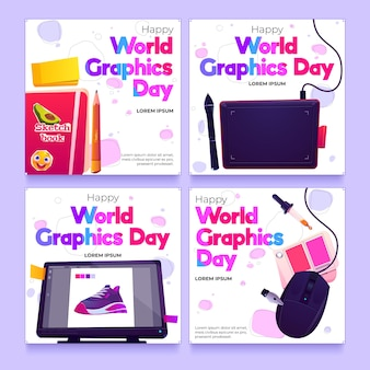 Flat world graphics day instagram posts collection