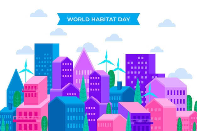 Concetto di giornata mondiale dell'habitat piatto