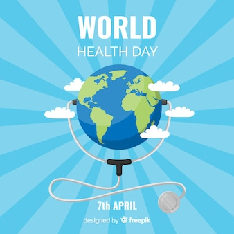 Flat world health day background