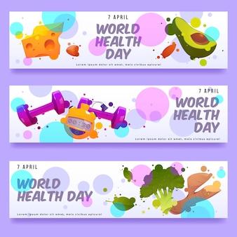 Set di banner piatto giornata mondiale della salute