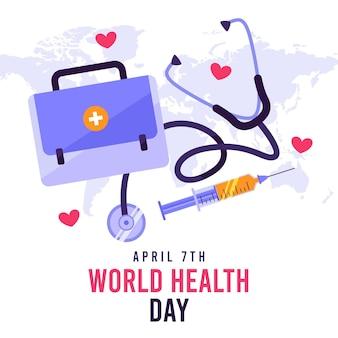 Плоская иллюстрация празднования всемирного дня здоровья