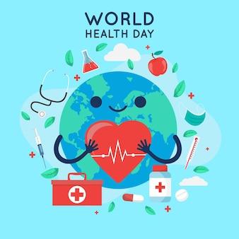 フラット世界保健デーのお祝いイラスト