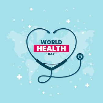 Flat world health day celebration illustration