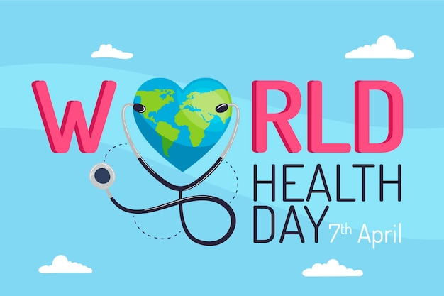 Flat world health day event concept