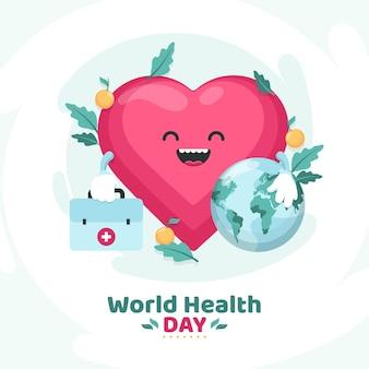 Плоский всемирный день здоровья иллюстрация