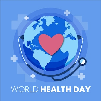 Flat world health day illustration