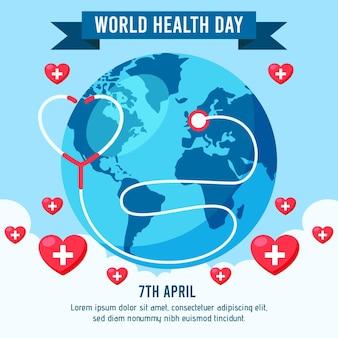 Illustrazione di giornata mondiale della salute piatta