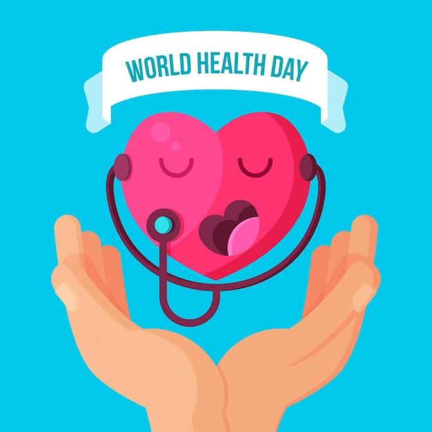 Flat world health day illustration
