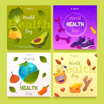 Raccolta di post di instagram per la giornata mondiale della salute piatta