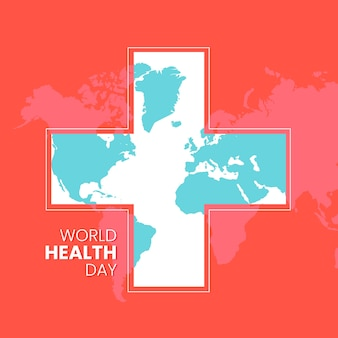 Flat world health day with cross