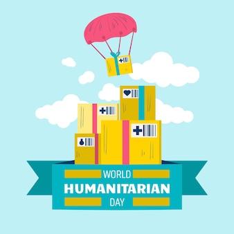 Flat world humanitarian day illustration