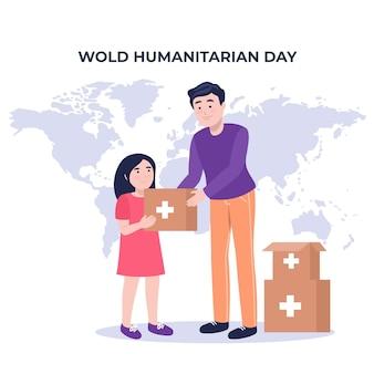 Плоский всемирный гуманитарный день иллюстрация
